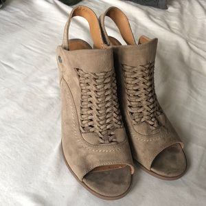 Worn Once Faux Suede Braided Sling Back Heels